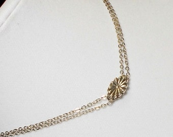 Sterling Silver Sunburst Flower Wedding Party Choker Necklace