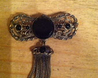 Vintage antique black rhinestone dangle gold tone brooch pin gothic festival goth victorian festival  free shipping
