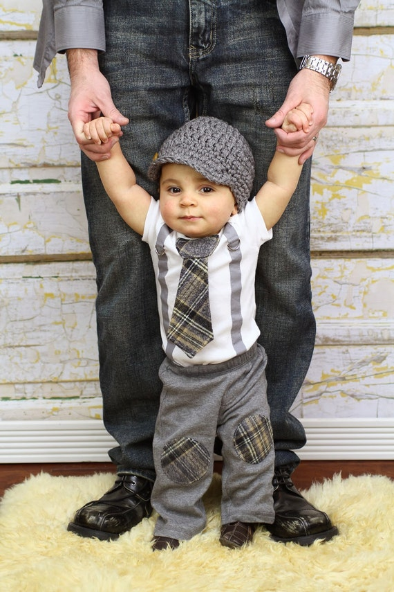 Baby Boy Tie Bodysuit With Suspenders Tie And Hat Preppy