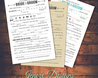 Wedding Mad Libs Advice Card - Printable Design - Instant Download - Wedding Fun - Day of Fun - Wedding Advice - For the Bride and Groom