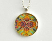 Rainbow Necklace. Mandala Necklace. Fractal Pendant. Resin Jewelry. Silver Plated. Resin Pendant Necklace.