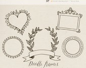Hand drawn Clipart, Overlay - Doodle Frames, to Showcase your Photography, Editable Vector EPS, PSD, PNG - Commercial Use