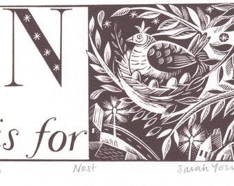 N is for Nest - Alphabet Silkscreen Print