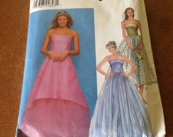 Simplicity Pattern No. 9663 in sizes 3/4 to 9/10.  Strapless Evening Gown