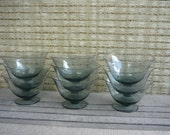 Set of 9 Vintage Smoked Glass Dessert Glasses, Mid Century Modern, Retro Entertaining