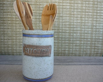 Vintage Pottery Kitchen Utensil Caddy, Earthy Utensil Storage Jar with Blue and Brown Stripe