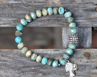 Tiffany Blue Czech Beaded Charm Bracelet by Bead Rustic Free Shipping until 4/15/2015
