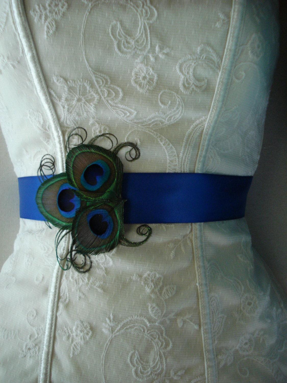 Peacock wedding bridal sash or belt peacock bridesmaid or for Peacock wedding dress sash