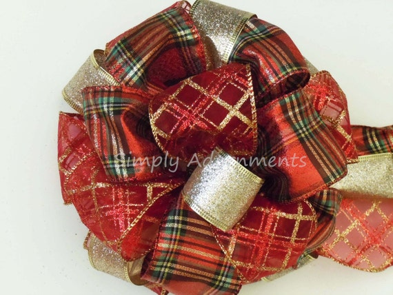 Items Similar To Christmas Tree Top Bow Red Gold Plaid