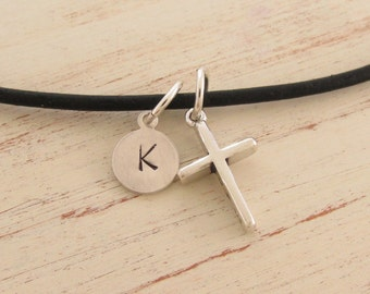 Boys Cross Initial Necklace on Leather Gift for Teenage Boy Graduation Present for Young Man Communion Confirmation or Baptism Gift