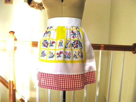 Apron - Repurposed Retro Dish Towel and Red and White Gingham Check With Big Bow