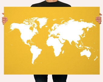 Yellow Poster World Map Print - Personalized Wall Art - Custom Color - Wall Hanging -  LARGE - MEDIUM SIZE