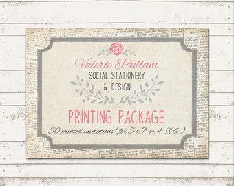 5X7 Professionally Press Printed Invitations - Printed on Cardstock - Quantity 50 - with envelopes