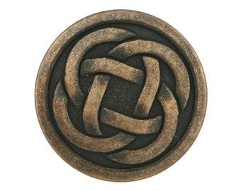 12 Celtic Knot 7/8 inch ( 22 mm ) Metal Buttons Antique Brass Color