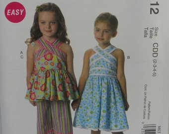 McCalls M6312 Childs or Girls Dress, Top and Capri Pants, Uncut