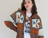 ON SALE Vintage Tan Orange and Blue Button Down Striped Collared Sweater - SloppyJos