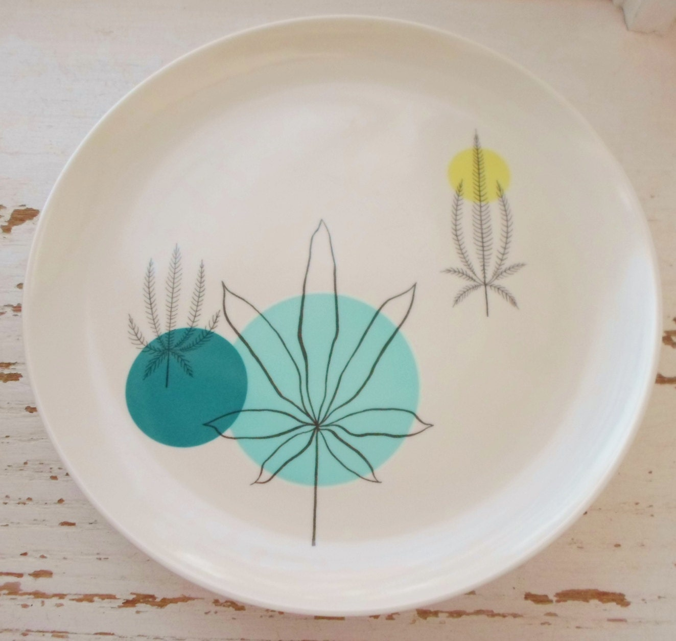 Rare Vintage Brookpark Fantasy Melmac Dinner Plates Turquoise