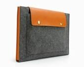 "20%OFF!13"" Macbook Sleeve Felt & Leather 13"" Macbook Air Bag 13"" Macbook Pro Case Laptop Sleeve case Bag with Front Pocket Custom Made E2028"