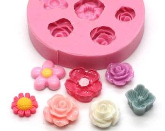 Mini Flower Set of 7 x 10mm Bakery Flexible Mold Cabochon Mold Silicone Mold Flexible Mold Food Safe Mold Resin Mold 369L* BEST QUALITY