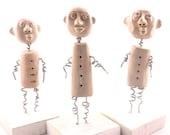 Ceramic Art Sculpture, (set of 3), Wire art sculpture, Wire figure, Ceramic home decor, Wire sculpture