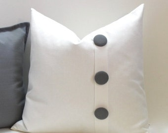 Decorative Button Pillow cover. Grey & Ivory white pillow cover, button pleat accent pillow