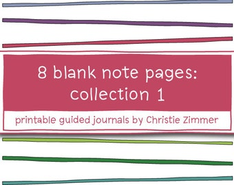 8 Printable Blank Note Pages - Collection 1