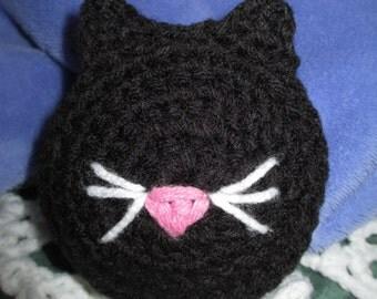 Crochet Black Cat Pincushion