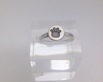 Little Paw Print Ring - pet lovers ring - silver stacker ring - paw print gift - pet lovers gift- silver ring