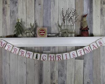 CHRISTMAS DECORATION Merry Christmas Banner - Christmas Photo Prop - Christmas Sign - Christmas Bunting - Christmas Garland