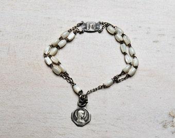 Baptism / Religious art deco Bracelet - Mother of pearl - France 1920's