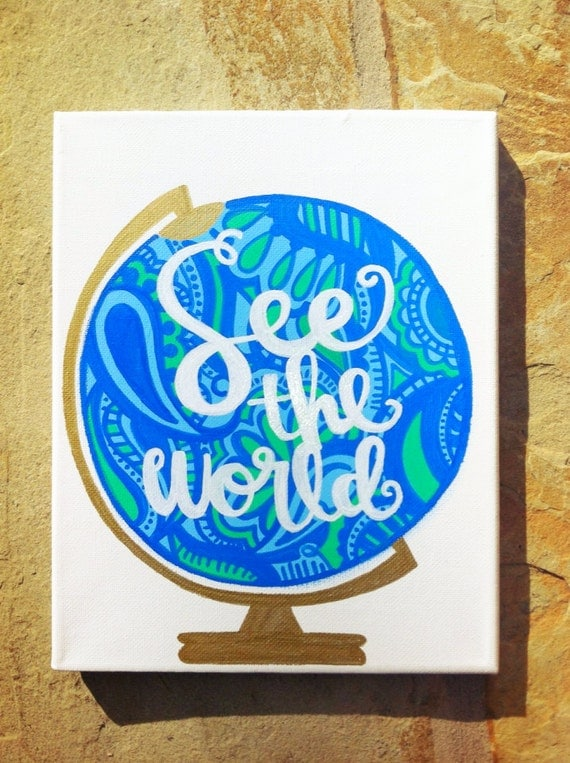 See the World Canvas (Abstract Lime Green and Royal Blue Paisley Globe)