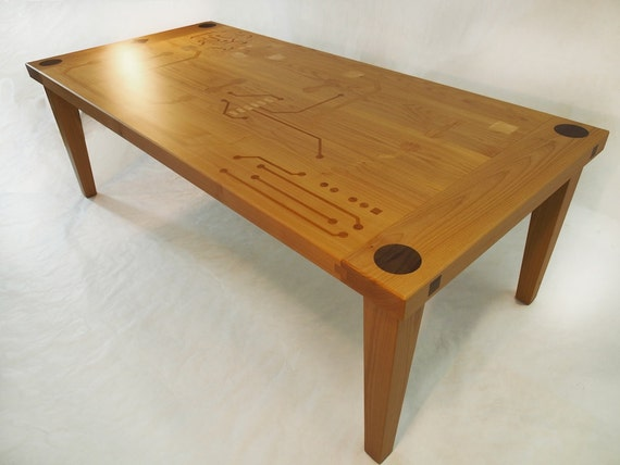 Dining room table with circuit board inlay design for Dining room tables etsy