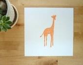 Baby animal art print Violet the Giraffe in orange , nursery wall decor
