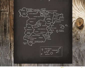 Taste of Spain - Spain Culinary Map Art Print Spanish cuisine Spain Gastronomy map