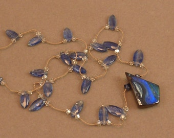 Cerulean Kite Australian Boulder Opal - with faceted marquise gem grade kyanite hand knotted on silk