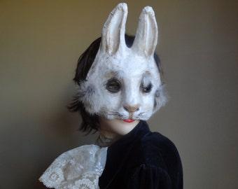 Halloween mask papier mache bunny mask rabbit mask