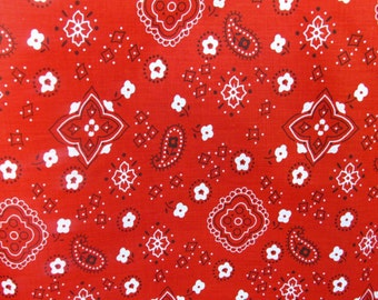 "Poly Cotton Print Bandana on Red Background 60"" Fabric by the Yard - 1 Yard"