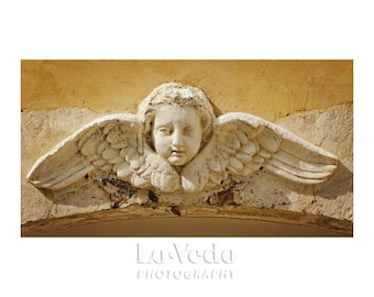 Angel Photograph, France Photography, Gold Home Decor, Angel Wings, Shabby Chic, Mustard Yellow