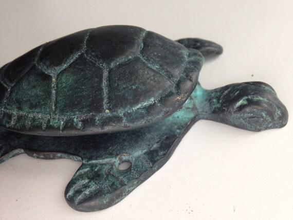 Beautiful natural patina brass turtle door knocker - Turtle door knocker ...