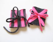 Wide Fabric Bracelets in Neon Pink and Grays