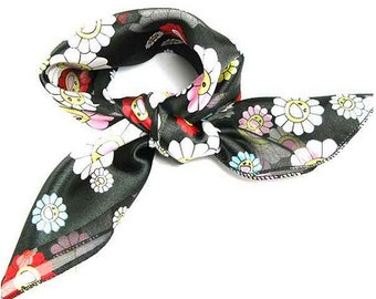 Satin Floral Scarf  Vintage Style Daisy Print Black Pink Blue  Red White Fashion Women Accessories