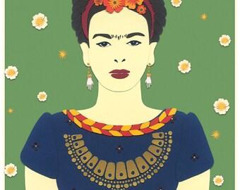 Frida Kahlo papercut print // Frida Kahlo print // Frida print // Frida artwork