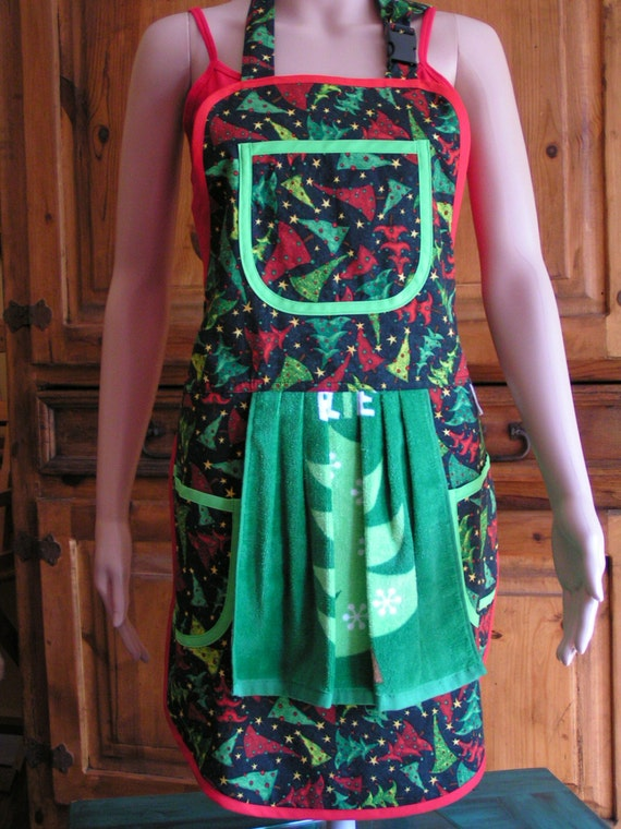 Christmas Tree Print Apron - Mary's Harvest Thyme Aprons copyright 1997