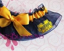 University of MICHIGAN WOLVERINES fabric handmade into wedding keepsake garter w/big gold bow - size xs s m l xl xxl