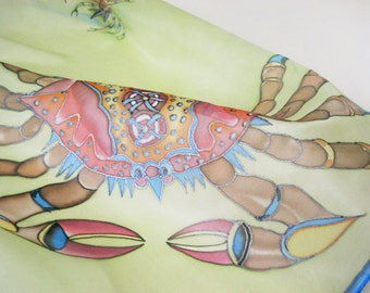 Silk scarf hand painted Ornamental decorative crabs Funny gift - ready to ship