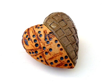 Heart , Rustic Heart Ceramic Sculpture ,Romantic Gift,Heart Pebble
