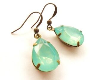 Opal Mint Rhinestone Earrings, Estate Style Earrings, Vintage Style, Gem Drop, Blue Green Jewel Earrings, Antique Bronze Dangly, Gift Box