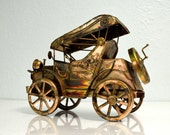 Vintage Windup Musical Model T Car - Copper Metal Musical Berkeley King of the Road Song Old Wind Up - Home Decor