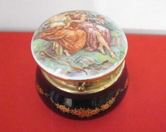 Vintage Capodimonte Porcelain Trinket Jar With Lid Marked Keramos Italy