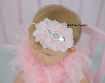 Baptism Hair Accessories-Pink-Chiffon-Vintage-Pearls-Flower Headband-Wedding-Photo Prop-Flowers for Hair-Christening-Flower Girl-Baby